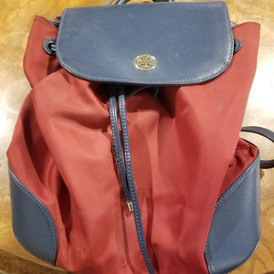 Tory Burch Blue Leather/Red Nylon Backpack